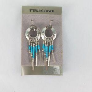 Native American Sterling Silver Earrings Handcraft